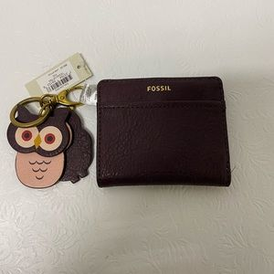 Fossil Tessa Fig Color Owl Key Ring Fob And Wallet